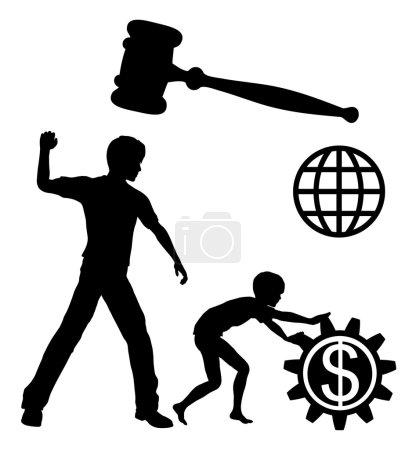 Photo pour Les enfants travailleurs maltraités par les entreprises et les industries pour réaliser des profits élevés doivent être interdits par la loi dans le monde entier - image libre de droit