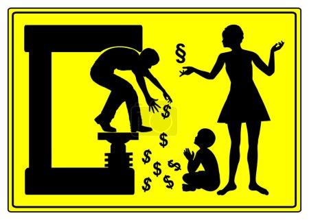 Photo pour Signe d'avertissement humoristique pour les hommes montrant que le divorce peut être très coûteux - image libre de droit