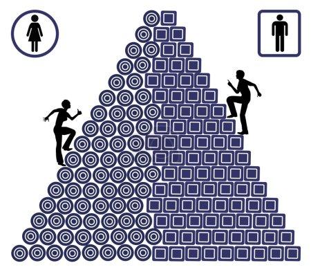 Photo pour Femme doivent se débattre beaucoup plus que les hommes sur leur lieu de travail souffrant des chances inégales - image libre de droit