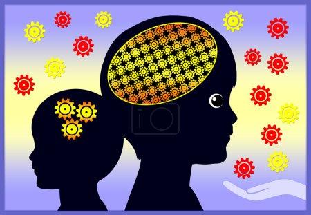 Photo pour L'environnement des premières années a des effets sur le développement de l'intelligence et des activités cérébrales globales - image libre de droit