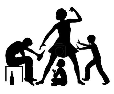 Photo pour Violent conflit familial en raison de la dépendance à l'alcool - image libre de droit