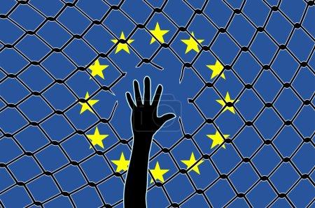 Photo pour Signe conceptuel de la façon dont l'Eu tourne le dos aux réfugiés - image libre de droit