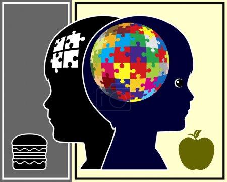 Photo pour Développement de cerveau et de la santé du cerveau chez les enfants est lié aux éléments nutritifs et alimentation saine - image libre de droit
