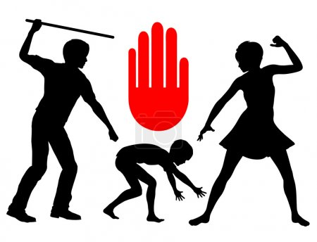 Photo pour La violence physique contre les enfants doit s'arrêter et doit être considérée comme crime - image libre de droit