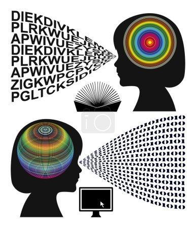 Photo pour Signe conceptuel de deux styles d'apprentissage et d'enseignement différents dans l'éducation préscolaire, avec des livres et des ordinateurs - image libre de droit