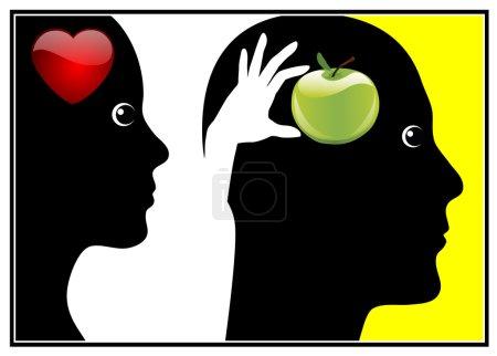 Photo pour Eve a donné à Adam le fruit de l'arbre de la connaissance par amour - image libre de droit