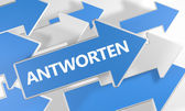 Antworten - german word for answer or respond - 3d render concept with blue and white arrows flying over a white background.