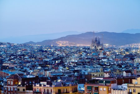 Barcelona in sunset time, Spain...