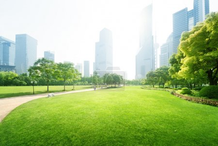 Photo for Park in  lujiazui financial centre, Shanghai, China - Royalty Free Image