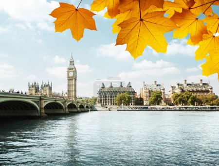 Photo for Autumn leaves and Big Ben, London - Royalty Free Image