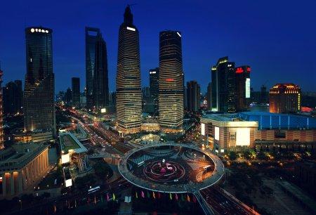 Photo pour Vue de nuit de Shanghai, Chine - image libre de droit