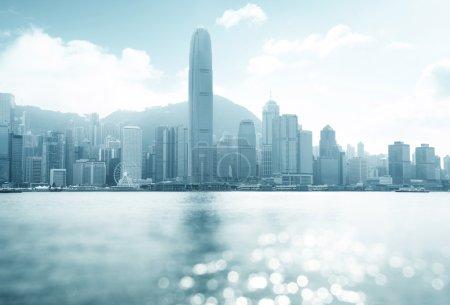 Hong Kong harbour at sunny day, tilt shift bokeh