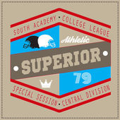 College Superior university division team sport label typography t-shirt graphics for apparel
