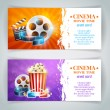 Realistic cinema movie poster template with film r...