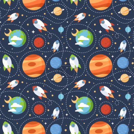 Illustration for Seamless children cartoon space pattern with rockets, planets, stars and universe over the dark night sky background - Royalty Free Image