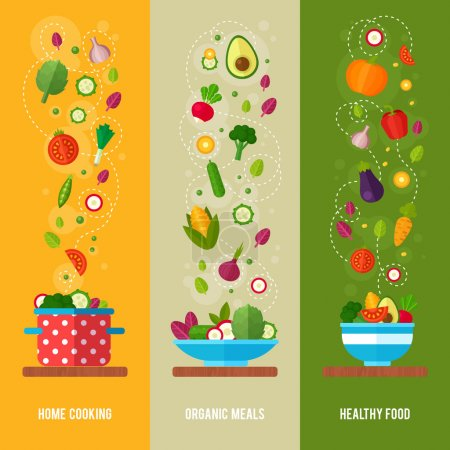 Illustration for Advertisement set of concept banners with flat vegetable icons for vegetarian restaurant home cooking menu and organic healthy eating recipes - Royalty Free Image