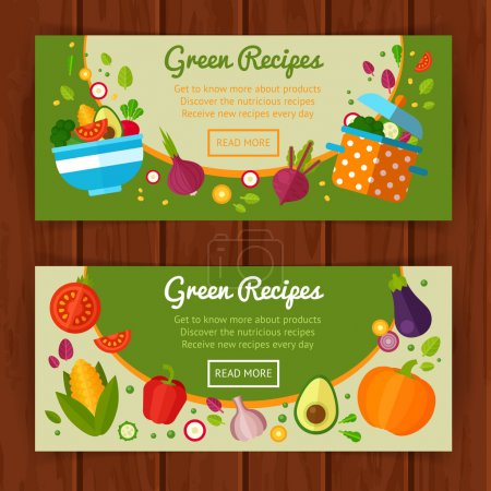 Concept banners with flat vegetable icons