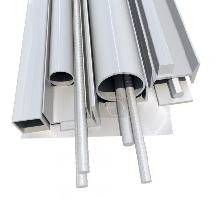 Rolled metal products. 3d illustration