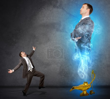 Genie business man appearing from magic lamp