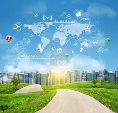 Buildings, green hills, road. World map, hexagons and flying letters. Blue sky on background