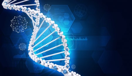 Photo for Human DNA. Background of hexagons and wire-frame - Royalty Free Image