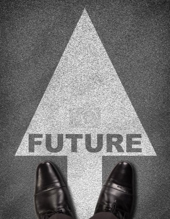 Shoes on  road with arrow and word future