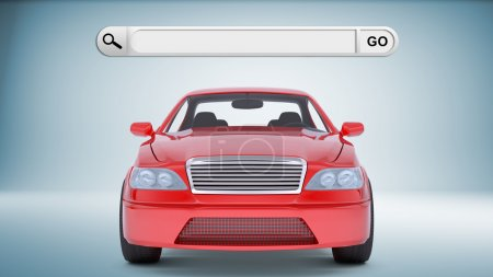 Red car with search field