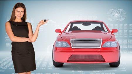 Businesslady holding car key