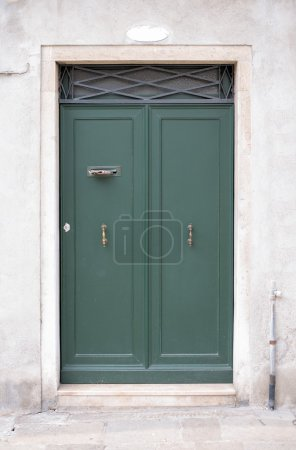 Wooden green door in wall with doorsteps, front vi...