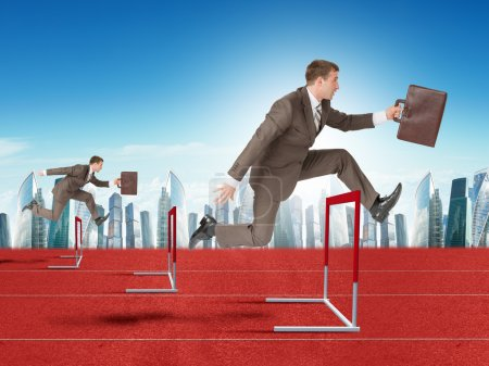 Men hopping over treadmill barrier with city