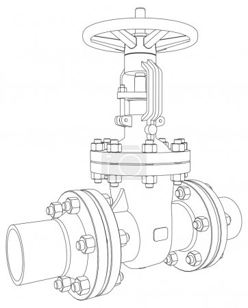 Illustration for Industrial valve. Detailed vector illustration isolated on white background. Vector rendering of 3d - Royalty Free Image