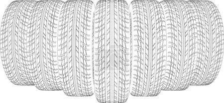Seven wire-frame tires. Vector illustration render...