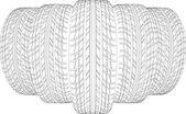 Skici pěti kostry pneumatik. Vektorové ilustrace