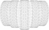 Five wire-frame tires. Vector illustration