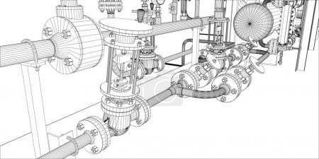 Illustration for Illustration of equipment for heating system with pipes and shafts - Royalty Free Image