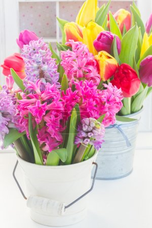bouquet of  hyacinth and  tulips