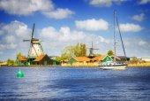 dutch windmills over Zaan river