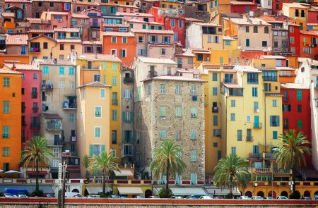 Photo for Facades of colorful houses of Menton old town, France, retro toned - Royalty Free Image
