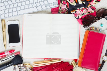 Photo for Still life of fashion woman as a frame on working desk with empty planner - Royalty Free Image