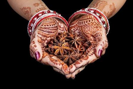 Photo pour Mains de femme avec henné tenant étoiles épices anis isolé sur fond noir avec chemin de coupe - image libre de droit