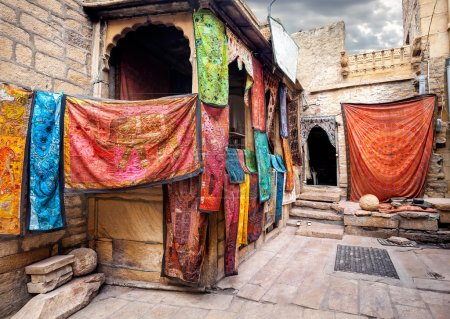 Photo for City street market with shops of Jaisalmer fort in Rajasthan, India - Royalty Free Image