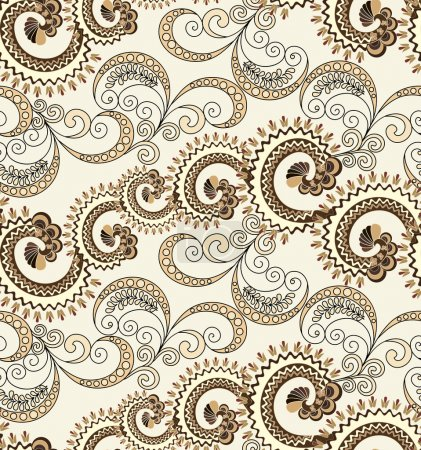 Illustration for Seamless pattern with wavy curls and swirls with polka dots in beige brown tones on a light background - Royalty Free Image