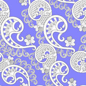 White lace pattern with Breede and small flowers on lilac background