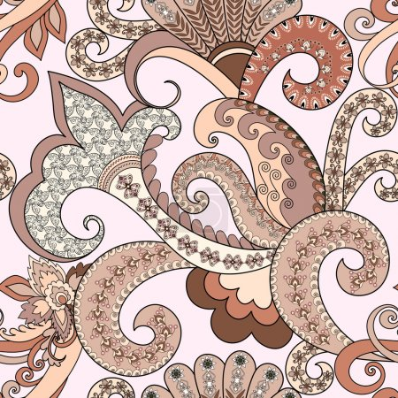 Illustration for Seamless pattern with paisley, decorative swirls in pastel shades on a light background - Royalty Free Image