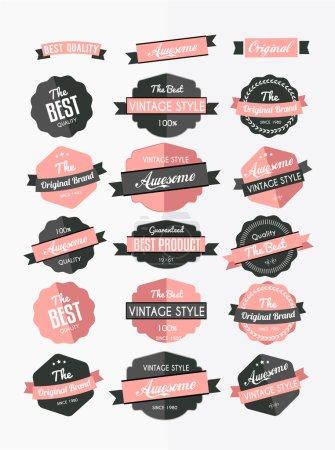 Set of colorful retro labels