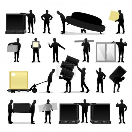 Illustration for People silhouettes move loads - Royalty Free Image