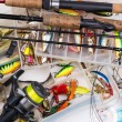 Top different fishing tackles - fishing rod, fishi...