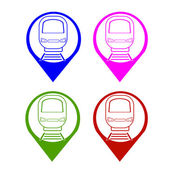 Vector set silhouette modern express train front on symbol map point different colors