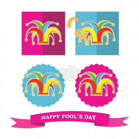 Illustration for Vector set from colorful silhouette clowns hat in frame for fools day - Royalty Free Image