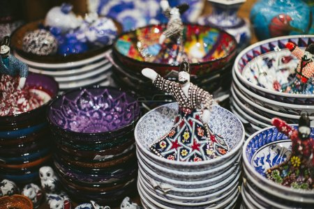 Colorful Turkish dishes on the